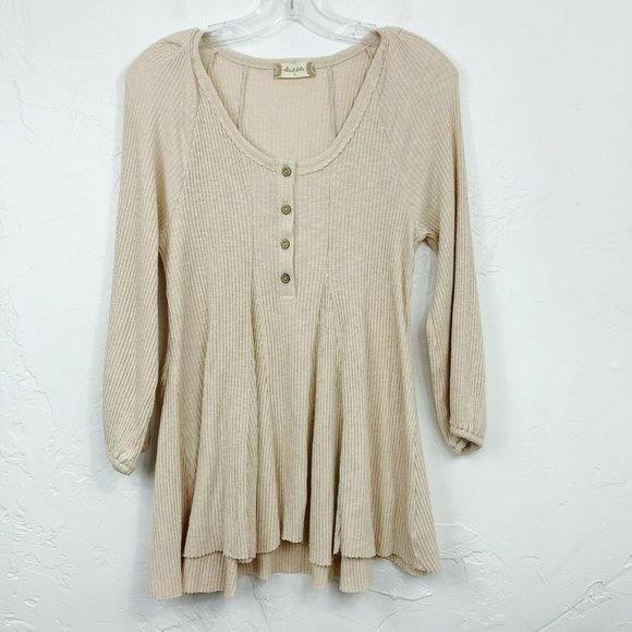 Altar'd State Beige Tan Ribbed Swing Tunic Shirt